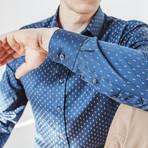 Nero Slim Fit Print Shirt // Blue (XL)