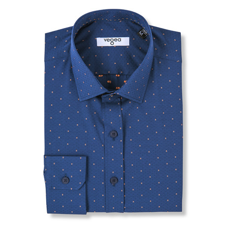 Galba Slim Fit Print Shirt // Blue (XS)