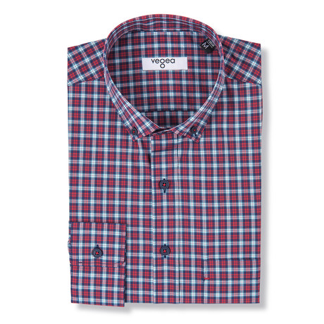Marcus Checked Shirt // Blue + Red (XS)