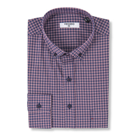 Verus Checked Shirt // Blue + Red (XS)
