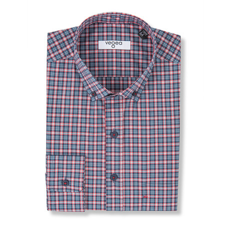 Pius Checked Shirt // Blue + Red (XS)