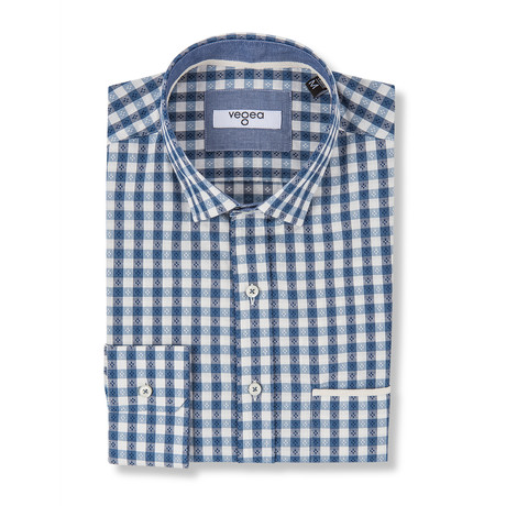 Vitellius Slim Fit Check Shirt // Blue (XS)