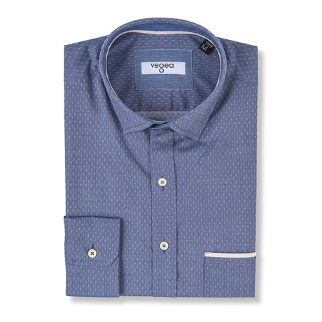 Vespasian Slim Fit Check Shirt // Blue (XS)