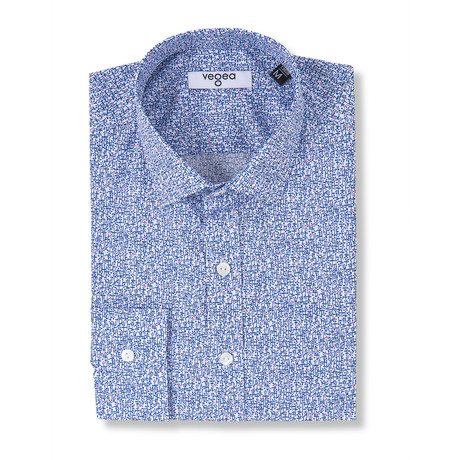 Commodus Slim Fit Printed Cotton Shirt // Blue (XS)