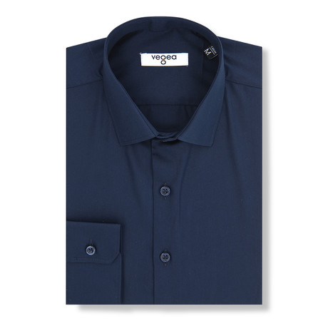 Joannes Slim Fit Cotton Shirt // Dark Blue (XS)