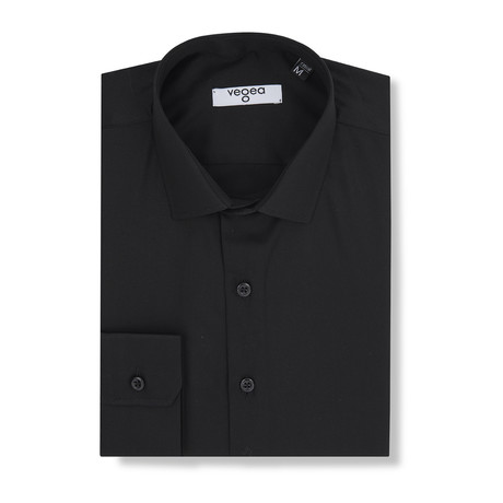 Gratian Slim Fit Cotton Shirt // Black (XS)