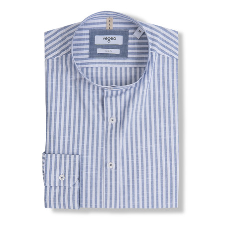 Jovian Stripe Shirt Stand Up Collar // Blue (XS)