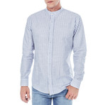 Jovian Stripe Shirt Stand Up Collar // Blue (L)