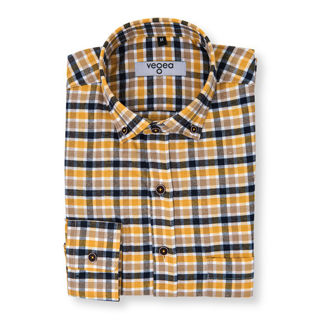 Gallus Plaid Flannel Shirt // Yellow + Blue (XS)