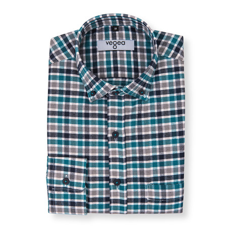 Valerian Plaid Flannel Shirt // Blue + Green (XS)
