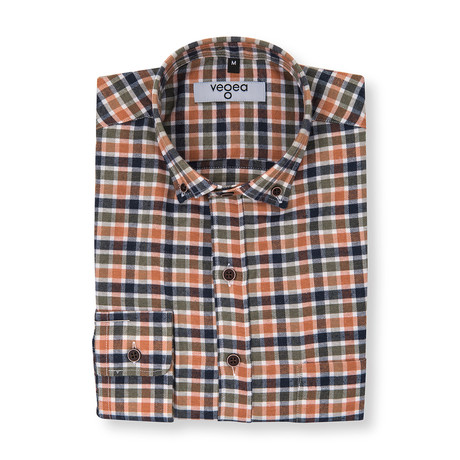 Florianus Check Flannel Shirt // Blue + Orange (XS)