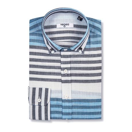 Domitian Shirt Horizontal Stripe // Blue + White (XS)