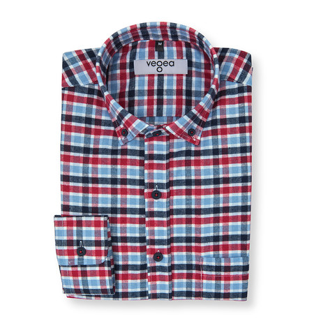 Aemilian Plaid Flannel Shirt // Blue + Red (XS)