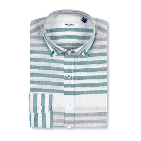 Nerva Shirt Horizontal Stripe // White + Green (XS)