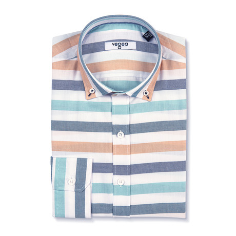 Trajan Shirt Horizontal Stripe // White + Blue (XS)