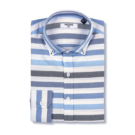 Hadrian Shirt Horizontal Stripe // White + Blue (XS)