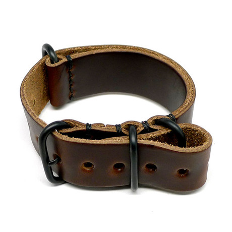 Military Watch Strap // Brown Chromexcel // PVD Buckle (18mm)