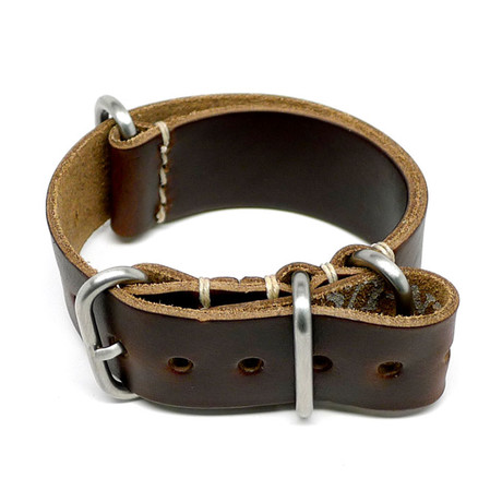Military Watch Strap // Brown Chromexcel // Matte Buckle (18mm)