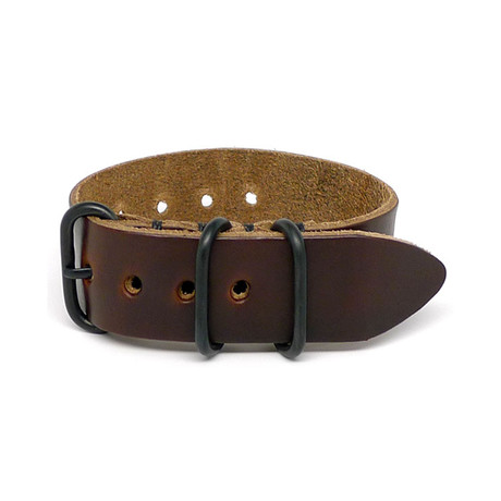 1 Piece Military Watch Strap // Brown Chromexcel // PVD Buckle (18mm)