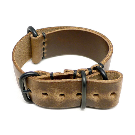 Military Watch Strap // Natural Chromexcel // PVD Buckle (18mm)