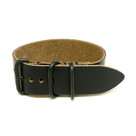 1 Piece Military Watch Strap // Black Chromexcel // PVD Buckle (18mm)