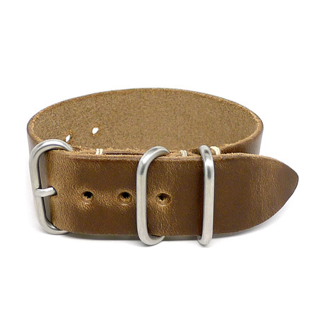 1 Piece Military Watch Strap // Natural Chromexcel // Matte Buckle (18mm)