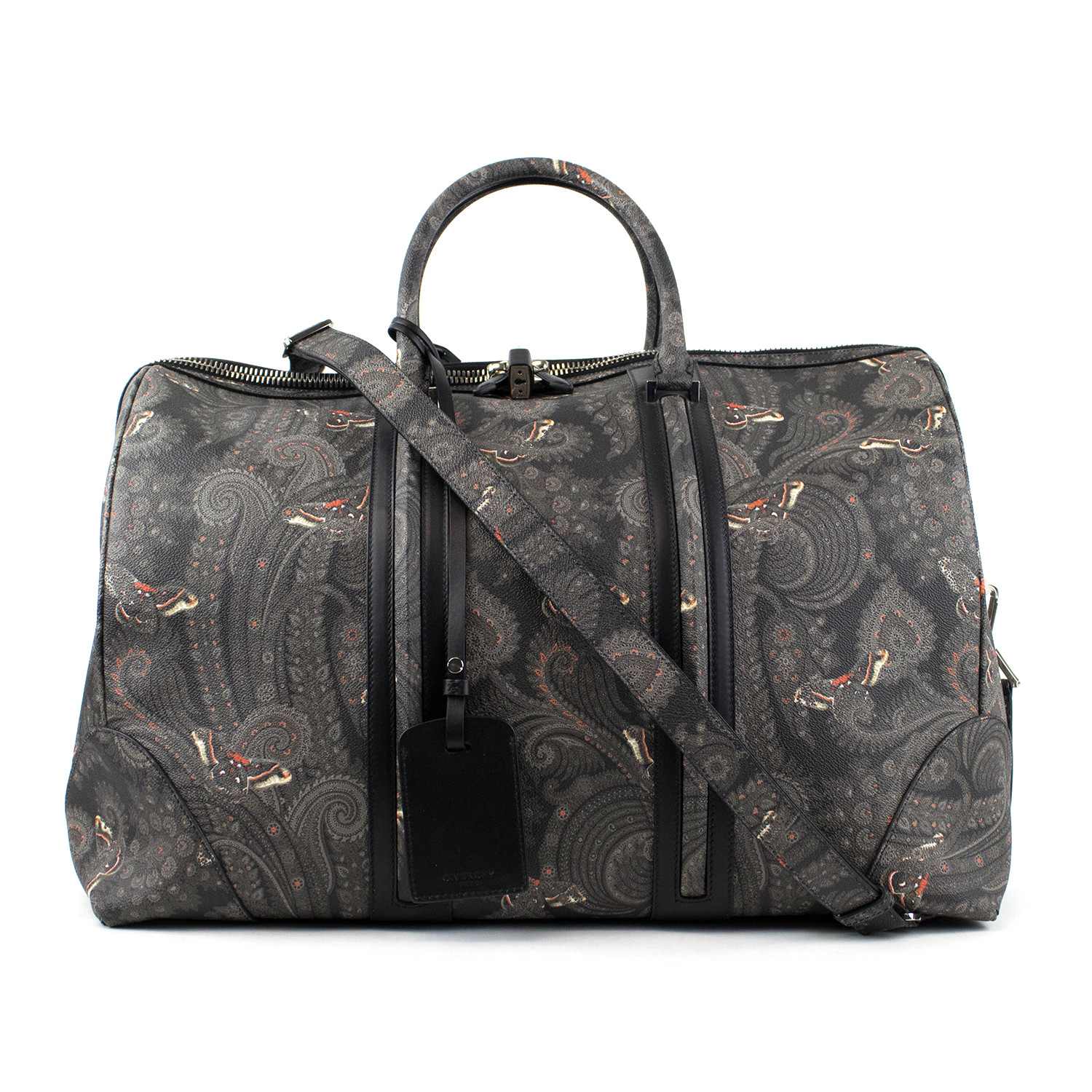 9fd8c5d33e Men's Leather Paisley Weekender Bag // Gray + Black - Givenchy ...