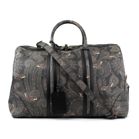 Men's Leather Paisley Weekender Bag // Gray + Black