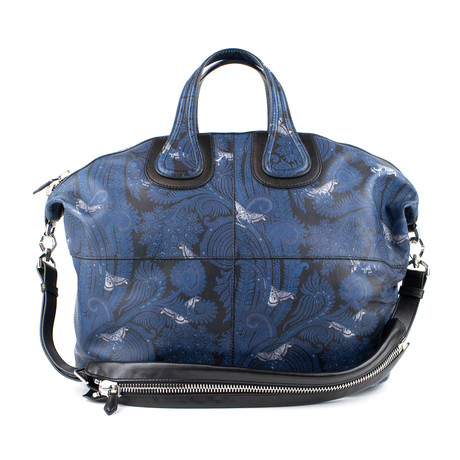 Men's Leather Nightingale Paisley Carry On Bag // Blue + Black