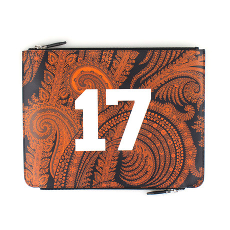 Leather Paisley Pouch Clutch Bag // Black + Orange