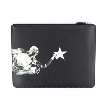 Leather Star Athlete Zip Pouch Bag // Black (Medium)