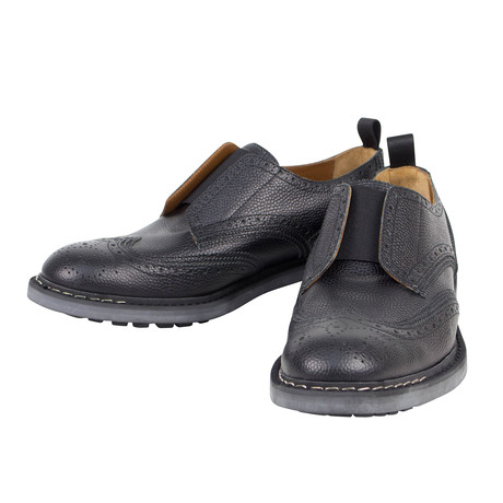 Nestore Pebbled Leather Slip On Shoes // Black (US: 6)