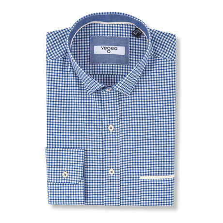 Titus Slim Fit Check Shirt // Blue (XS)
