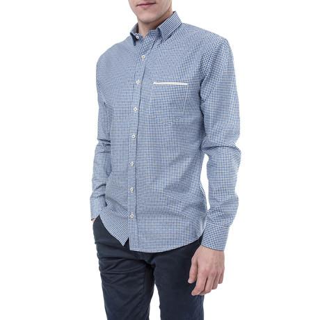 Titus Slim Fit Check Shirt // Blue (XS)