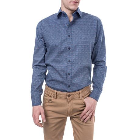 Pertinax Slim Fit Print Shirt // Blue (XS)