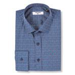 Pertinax Slim Fit Print Shirt // Blue (XL)