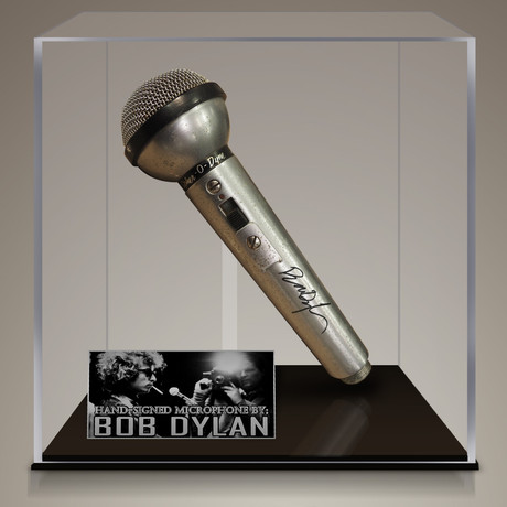 Bob Dylan // Signed Vintage Microphone // Custom Museum Display (Signed Microphone Only)