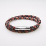 Jean Claude Jewelry // Leather + Stainless Steel Double Wrap Bracelet // Brown + Black