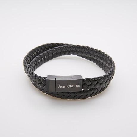 Jean Claude Jewelry // Adjustable Double Wrap Leather Bracelet // Black