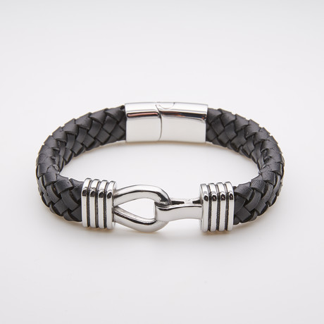 Jean Claude Jewelry // Leather Bracelet + Stainless Steel Details // Black + Silver