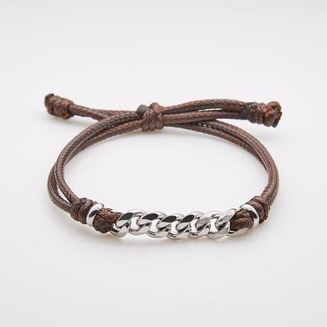 Jean Claude Jewelry // Leather Steel Chain Bracelet // Brown