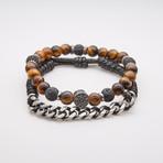 Jean Claude Jewelry // Tiger's Eye + Leather Steel Chain Bracelet // Set of 2
