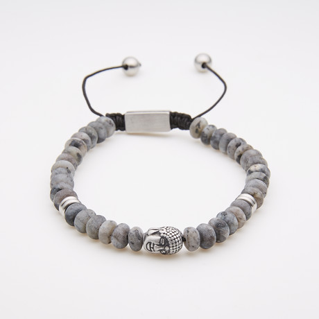 Jean Claude Jewelry // African Marble + Oval Agate Bead Bracelet // Gray