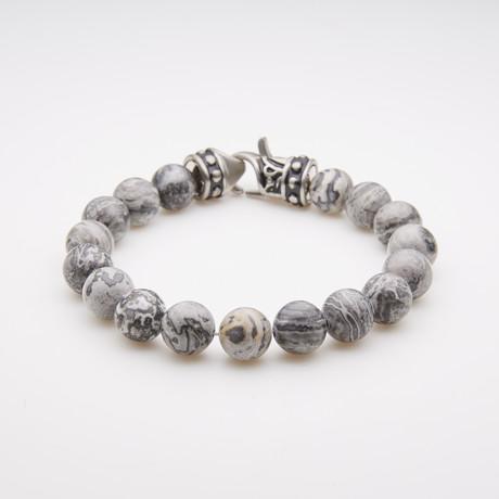 Jean Claude Jewelry // Jasper Bead Bracelet // Gray