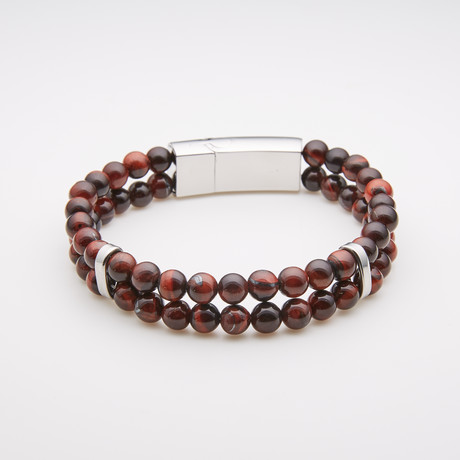 Jean Claude Jewelry // Double Wrap Tiger Eye Bead Bracelet // Brown + Silver