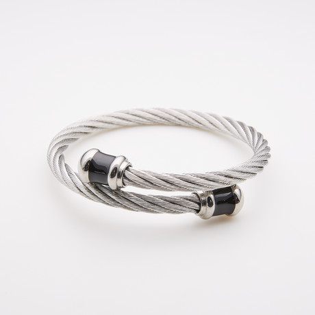 Dell Arte // Twisted Cable Stainless Steel Bangle // Silver