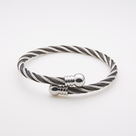 Dell Arte // Two-Tone Encrusted Steel + Twisted Cable Bangle // Silver