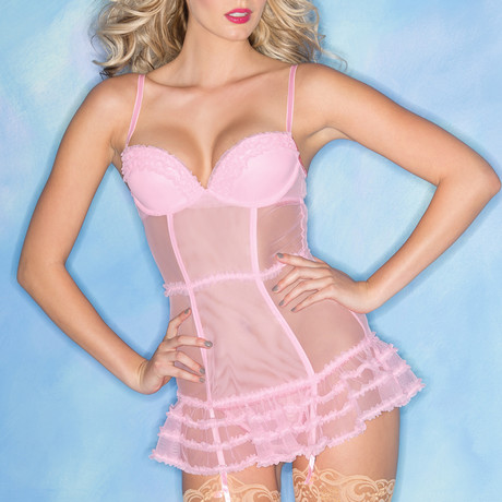 Sheer Chemise + Thong // Pink (Small)