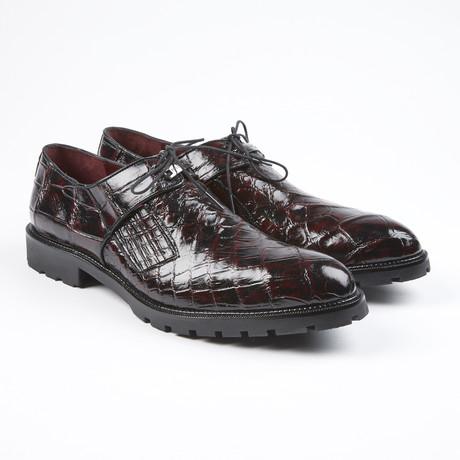 Cosi Alligator Leather Lace-Up // Black Cherry (US: 7.5)