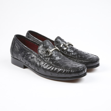 Struzzo Ostrich Leather Loafer // Black (US: 7)